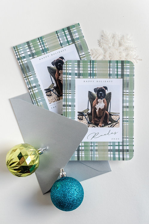 Hunter Plaid Holiday Photo Greeting Cards