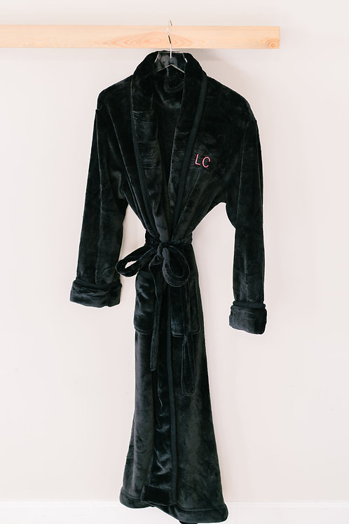 Women's Black Embroidered Robe