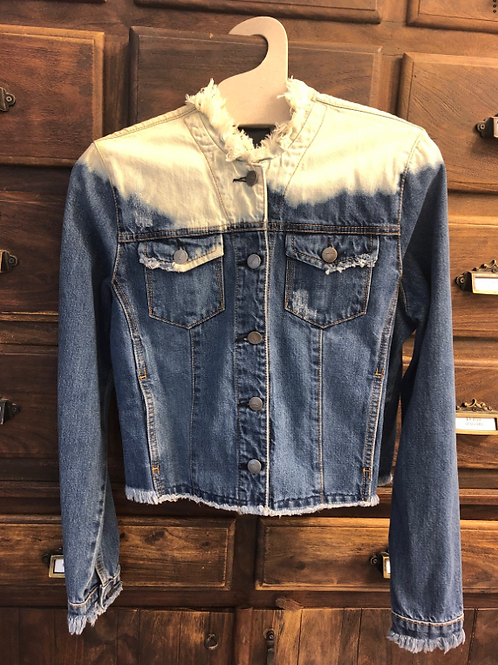 Medium Cropped Bleached Denim Jacket