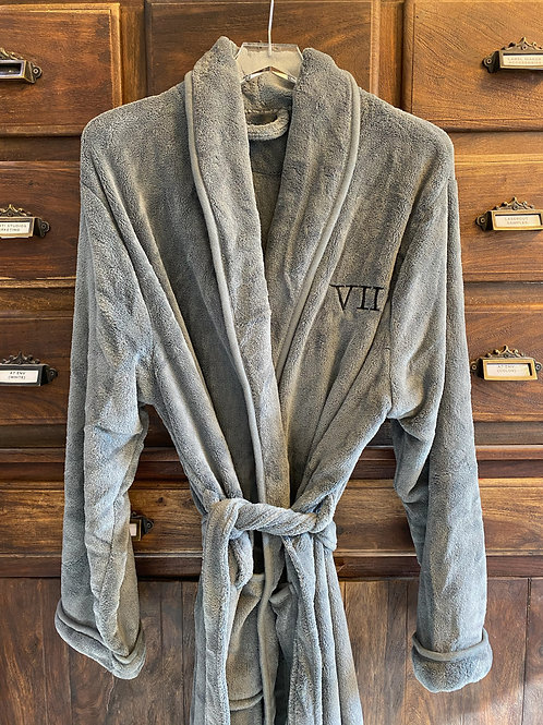 Men's Grey Embroidered Robe