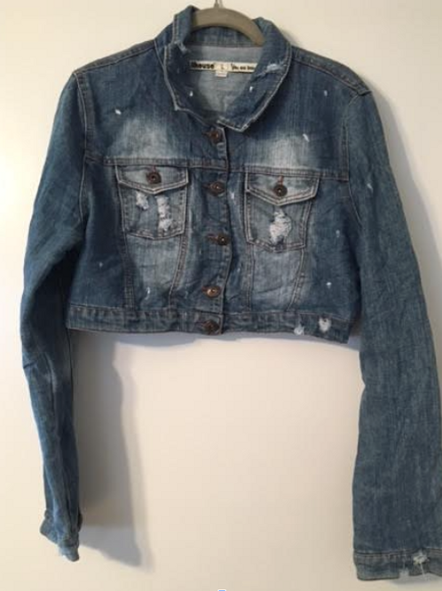 Large Custom Cropped Lightweight Denim Jacket