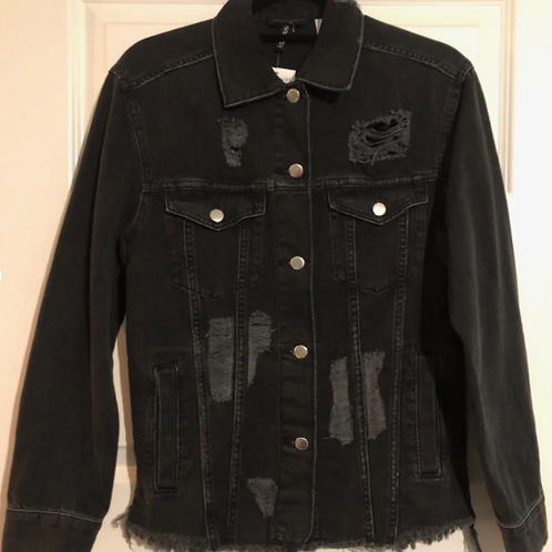 Medium Custom Black Distress Denim Jacket