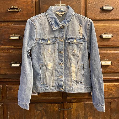 Large Custom Light Wash Distressed Denim Jacket (C)