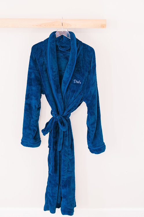 Men's Navy Embroidered Robe