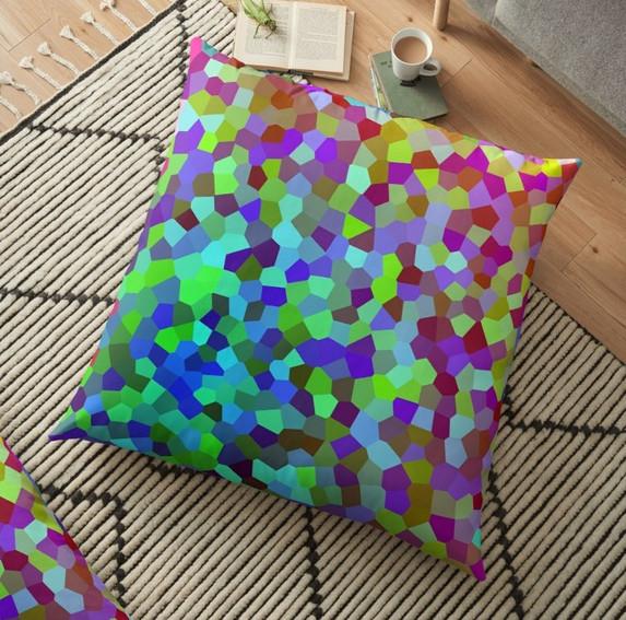 Coloured Voronoi - Floor Pillow