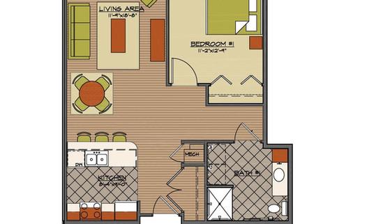 Floor plan 1 bed standard HCA