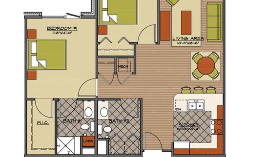 Floor plan 2 bed standard HCA