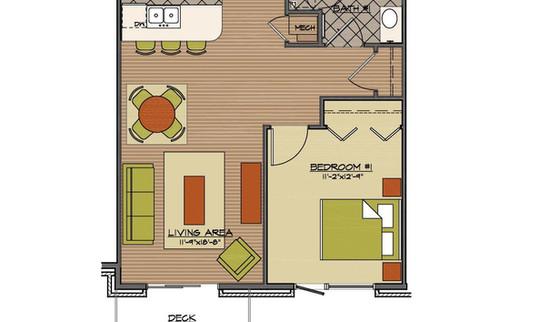 Floor plan 1 bed standard