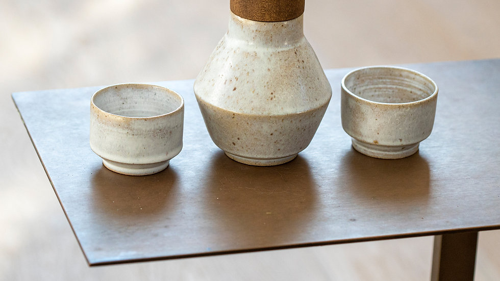 Ceramic Sake Set With Wooden Cap