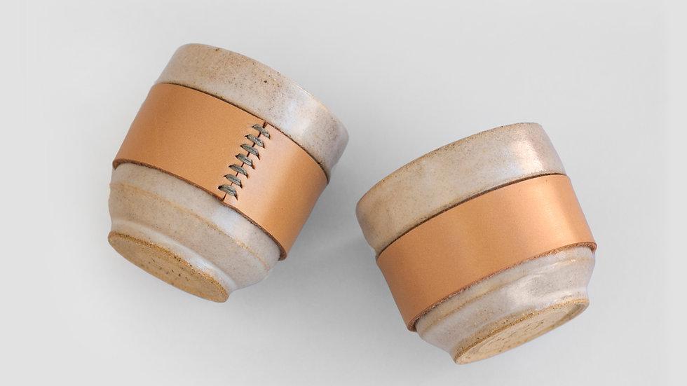Pair of Ceramic + Leather cups