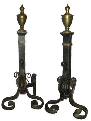 Urn Top with Brass and Iron Andirons