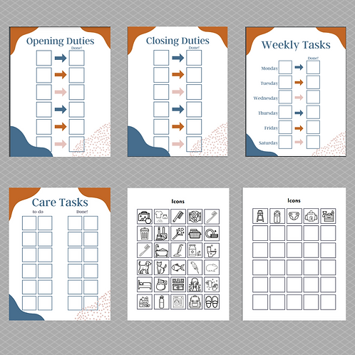 Care task templates w/ icons (adult) digital download