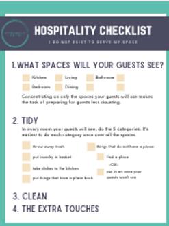 Hospitality Checklist & Schedule (digital download)