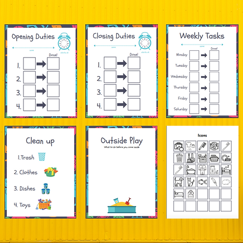 Kids care task template pack (pictures) digital download