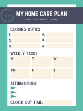 Home Care Plan Worksheet