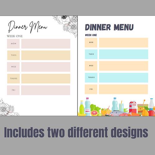 6 Week Menu Template (includes two designs)