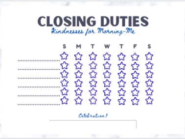 Closing (or opening) Duties Star Chart