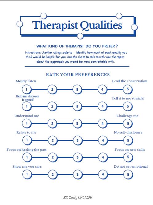 Therapist Qualities worksheet