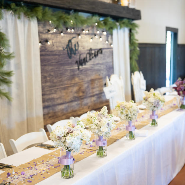 Head table at inside reception