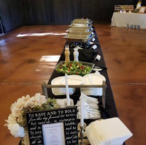 Inside set up food buffet