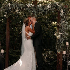 """Saying """"I do"""" in our woodland ceremony site"""