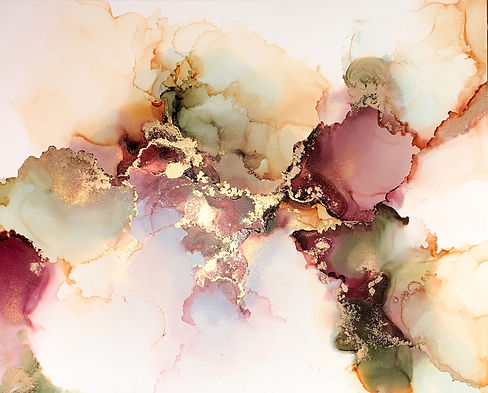 maroon and green alcohol ink painting by