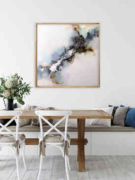 the grand falls 24x24 inch alcohol ink painting in dining room.jpg