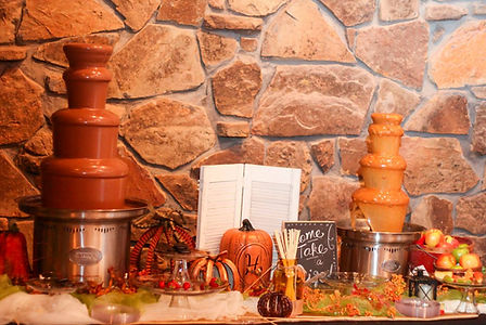 Fall wedding with chocolate fountain and caramel fountain