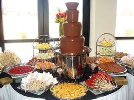 Chocolate fountain and dipping items at reception.