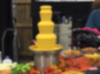 Flowing cheese fountain