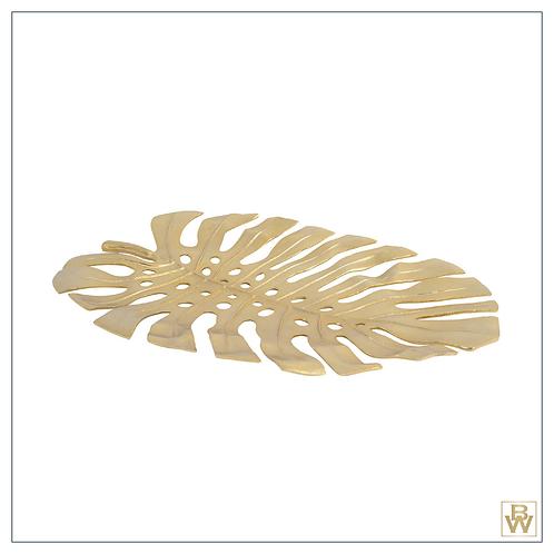 'Monstera Leaf' Gold Aluminium Platter