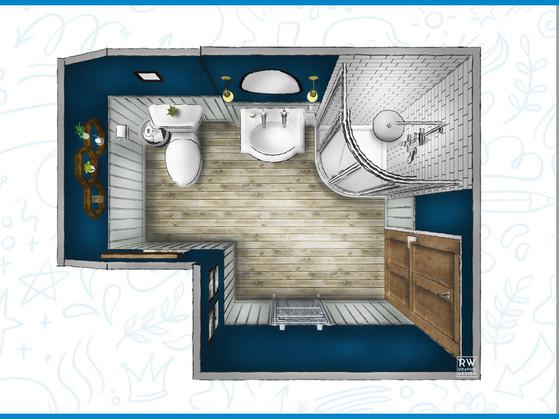 Dark blue victorian bathroom