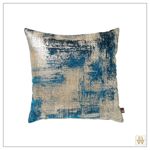 'Mykonos' Textured Feather Filled Cushion, Teal,