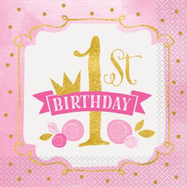 Pink/Gold 1st Birthday  Lun Nap