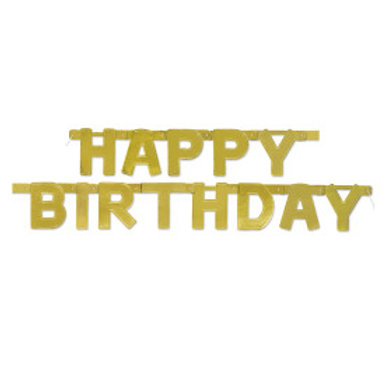 Golden Happy Birthday Deluxe Jointed Banner