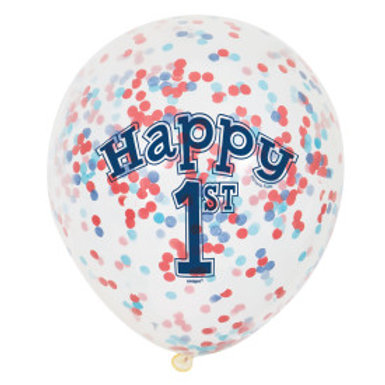 Nautical 1st Birthday Confetti Latex Balloons