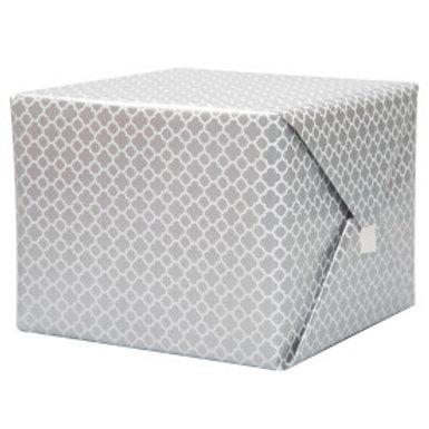 Silver Quatrefoil Gift Wrap