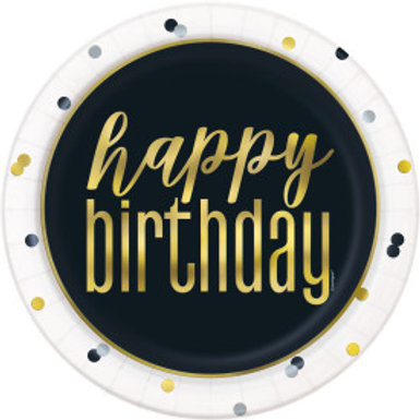 Metallic Happy Birthday  Dinner Plate