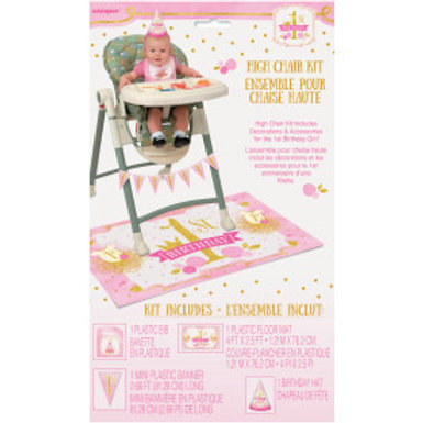 Pink/Gold 1st Birthday High Chair Kit
