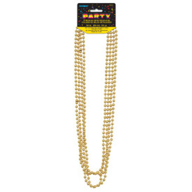 Bead Necklace-Gold Metallic