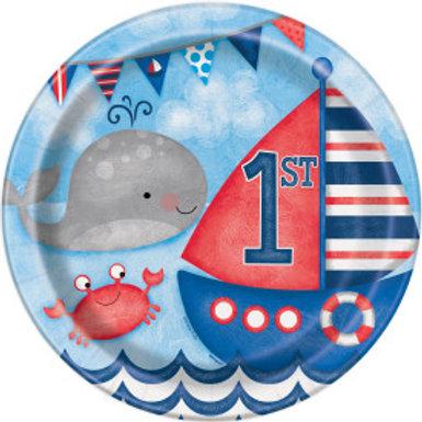 Nautical 1st Birthday Dinner Plate