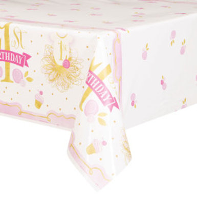Pink/Gold 1st Birthday Tablecover