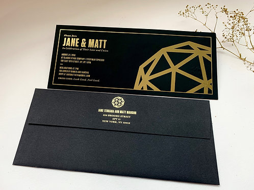 Custom foil stamping invitations set of 2 pcs