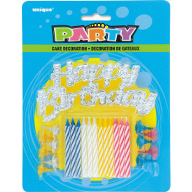 Happy Birthday Cake Topper w/Candles
