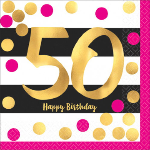 Hot Stamped Pink & Gold 50 Bev Napkins