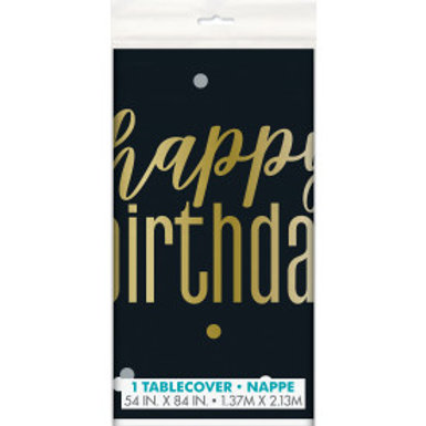 Metallic Happy Birthday Tablecover