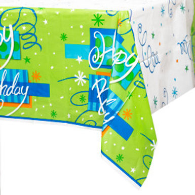 BRIGHT Birthday Plastic Tablecover