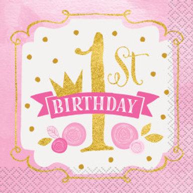 Pink/Gold 1st Birthday Bev Nap
