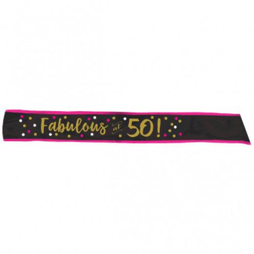 Pink and Gold Milestone 50 Fabric Sash