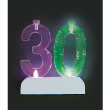 Number 30 Flashing Candle Holder w/Candle